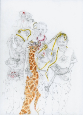"""Gun Children,15""""x11"""", mixed media on paper, 2015, Private collection"""
